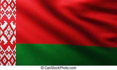 Large Flag of Belarus fullscreen background in the wind