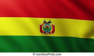 Large Flag of Bolivia fullscreen background fluttering in the wind with wave patterns