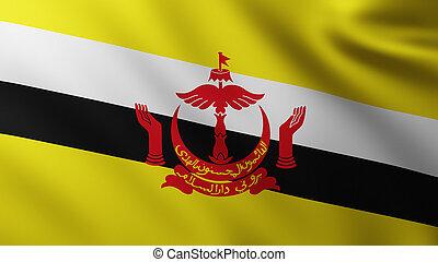 Large Flag of Brunei fullscreen background in the wind