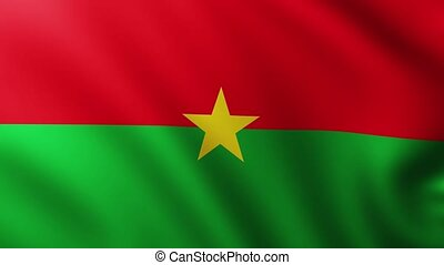 Large Flag of Burkina Faso fullscreen background fluttering in the wind