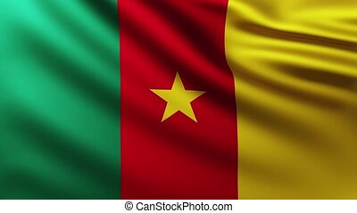 Large Flag of Cameroon background fluttering in the wind