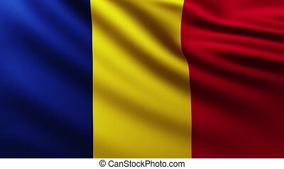 Large Flag of Chad fullscreen background fluttering in the wind