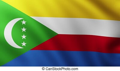 Large Flag of Comoros fullscreen background fluttering in the wind