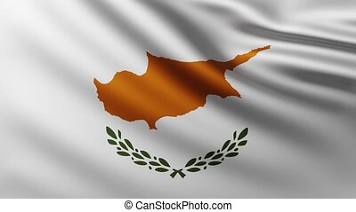 Large Flag of Cyprus fullscreen background fluttering in the wind
