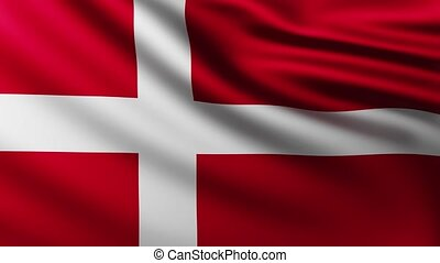 Large Flag of Denmark background fluttering in the wind with wave patterns