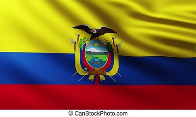 Large Flag of Ecuador fullscreen background fluttering in the wind with wave patterns