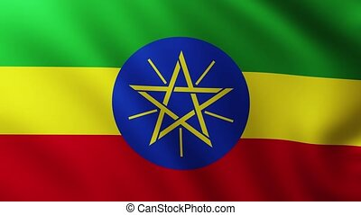 Large Flag of Ethiopia fullscreen background fluttering in the wind with wave patterns