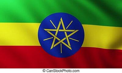 Large Flag of Ethiopia fullscreen background fluttering in ...
