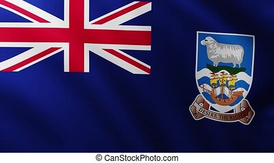 Large Flag of Falkland Islands fullscreen background fluttering in the wind with wave patterns