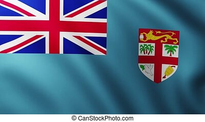 Large Flag of Fiji background fluttering in the wind
