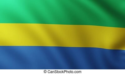 Large Flag of Gabon fullscreen background fluttering in the wind with wave patterns