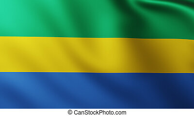 Large Flag of Gabon fullscreen background in the wind