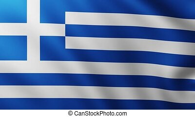 Large Flag of Greece fullscreen background fluttering in the wind