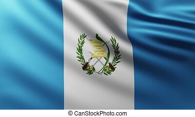 Large Flag of Guatemala fullscreen background fluttering in the wind with wave patterns