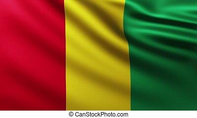 Large Flag of Guinea fullscreen background fluttering in the wind