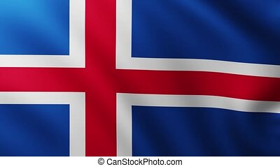 Large Flag of Iceland fullscreen background fluttering in the wind