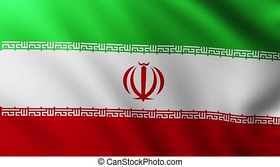 Large Flag of Iran background fluttering in the wind with wave patterns
