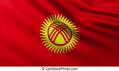 Large Flag of Kyrgyzstan fullscreen background fluttering in the wind with wave patterns