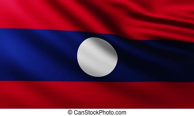 Large Flag of Laos fullscreen background fluttering in the wind