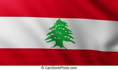 Large Flag of Lebanon fullscreen background fluttering in the wind