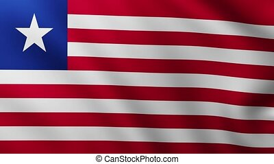 Large Flag of Liberia fullscreen background fluttering in the wind with wave patterns