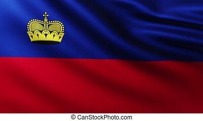 Large Flag of Liechtenstein fullscreen background fluttering...