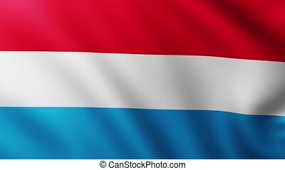 Large Flag of Luxembourg background fluttering in the wind with wave patterns