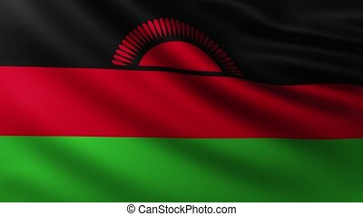 Large Flag of Malawi fullscreen background fluttering in the wind with wave patterns