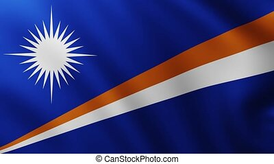 Large Flag of Marshall Islands fullscreen background fluttering in the wind with wave patterns