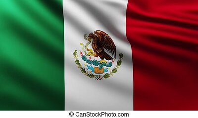 Large Flag of Mexico background fluttering in the wind
