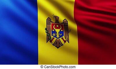 Large Flag of Moldova fullscreen background fluttering in the wind
