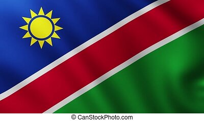 Large Flag of Namibia fullscreen background fluttering in the wind with wave patterns