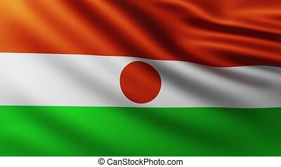 Large Flag of Niger fullscreen background fluttering in the wind with wave patterns
