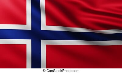Large Flag of Norway fullscreen background fluttering in the wind