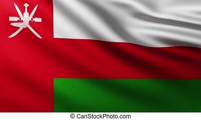 Large Flag of Oman fullscreen background fluttering in the wind