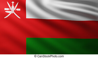 Large Flag of Oman fullscreen background in the wind