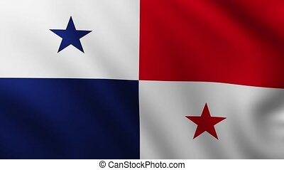 Large Flag of Panama fullscreen background fluttering in the wind