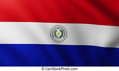 Large Flag of Paraguay fullscreen background fluttering in the wind
