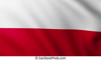 Large Flag of Poland background fluttering in the wind with wave patterns