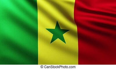 Large Flag of Senegal fullscreen background fluttering in the wind
