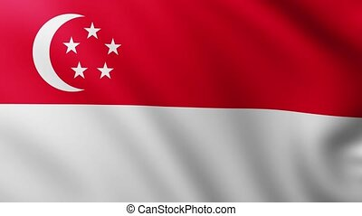 Large Flag of Singapore fullscreen background fluttering in the wind with wave patterns