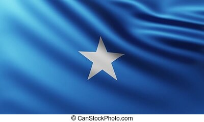 Large Flag of Somalia fullscreen background fluttering in the wind with wave patterns