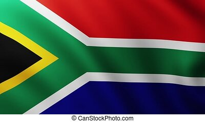 Large Flag of South Africa background fluttering in the wind