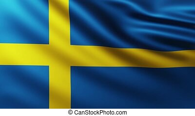 Large Flag of Sweden fullscreen background fluttering in the wind