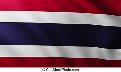 Large Flag of Thailand fullscreen background fluttering in the wind with wave patterns
