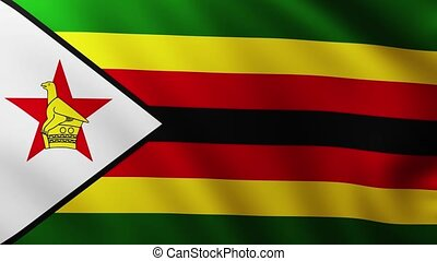 Large Flag of Zimbabwe fullscreen background fluttering in the wind