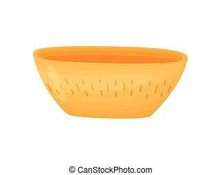 large, fleur, pot., illustration, arrière-plan., vecteur, orange, blanc