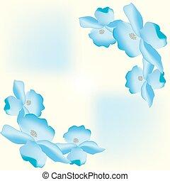 Large flower petals floral background blue nature