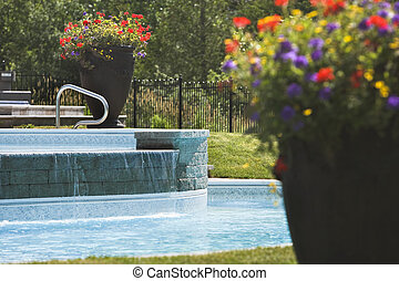 Large flower pots around a swimming pool