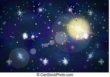 large, fond, espace, flamme, profond, lentille, clair, étoiles